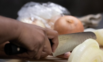 Person Cutting Onion